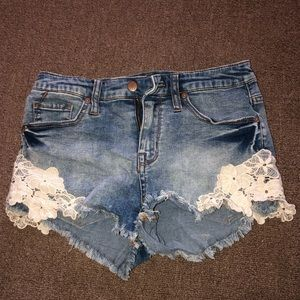 Jean shorts with lace sides